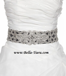 MILA - Crystal wedding bridal gray wedding beaded sash - SALE