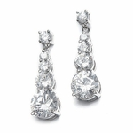 Milana - Elegant long drop CZ wedding earrings - SALE