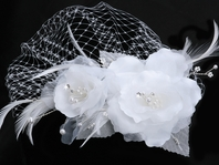 Millie - Romantic double flower with birdcage veil - SALE!