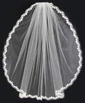 Millie - Romantic lace floral with pearl wedding veil - SALE