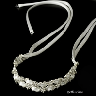 Mina - Beautiful satin ribbon crystal headband - SALE