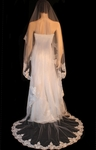 Mona - Beautiful romantic beaded lace cathedral wedding veil - SPECIAL