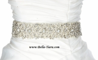 Monalia - STUNNING Swarovski crystal pearl beaded wedding sash - SALE