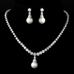 Monika - Beautiful traditional vintage Cubic Zirconia pearl drop necklace set - SPECIAL!