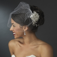Moonlight - Beautiful silver beaded flower with russian birdcage veil - SALE!!