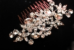 Natalia - Beautiful floral rhinestone wedding hair comb