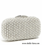 Natasha Couture - Pearl Caged Clutch Swarovski  crystal wedding purse - Amazingly priced!!