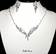 Neve - Romantic beauty CZ vine wedding necklace set - Back in stock