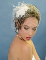 Nevia -  Couture Elegant flowers with cage veil - SALE