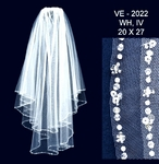 NEW!!! Beautiful high end crystal beaded edge communion veil - SALE