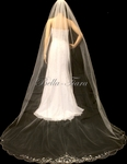 BEST SELLER crystal beaded edge ivory or champagne cathedral wedding veil- SPECIAL
