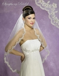 New!! Beautiful lace beaded edge bridal veil