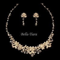new!! BEAUTIFUL light gold crystal wedding necklace set - SALE