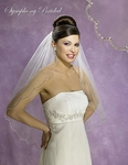 New!! Beautiful Scalloped Beaded edge Bridal veil - 5403