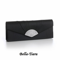 NEW!! Black Satin Clutch Evening Bag with Crystal Fan