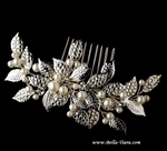 New Couture design - crystal vine w/ pearls wedding comb - SALE