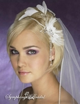 New!! Elegant crystal headband w/ feathers-4616CR - SALE!!