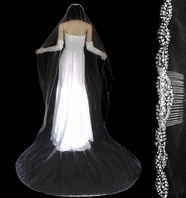 Dazzle Collection !!! ELEGANT crystal edge cathedral wedding veil - SALE