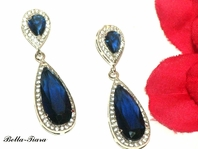 New Elegant sapphire blue crystal earrings -SALE