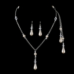 NEW!! ELEGANT Silver ivory  pearl lariat crystal necklace set - SALE!!