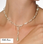 New! Italian Collection crystal sterling silver pearl lariat neckace - SALE