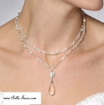 NEW! Italian Collection Swarovski crystal sterling silver bridal necklace set - SALE