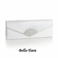 NEW!! Light Ivory Satin Wedding Purse with Crystal Fan