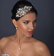 NEW - Luxurious collection - Ivory pearl side wedding headband