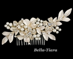 New - Royal collection gold champagne crystal wedding hair comb - SALE