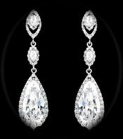 NEW Royal CZ crystal wedding drop earrings - SALE