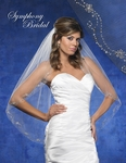 NEW!! Spectacular crystal silver beaded edge bridal veil - SALE!!