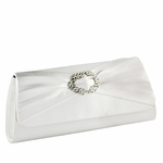 Noelle - Beautiful rhinestone center white or ivory wedding purse