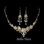 Norla - Vintage inspired swarovski crystal gold necklace set