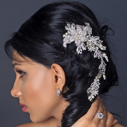 Olga - Romantic crystal and pearl wedding hair comb - SALE