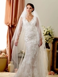 Elegant One Tier Cascading Pencil edge Cathedral Veil