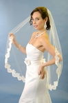 One Tier Fingertip Veil with Lace Edge -- SPECIAL