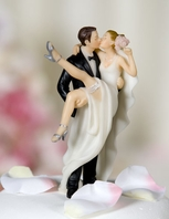 """""""Over the Threshold"""" Wedding Bride and Groom Cake Topper Figurine"""