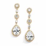 Pear-Shaped Drop Earrings with Pave CZ - Gold