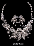 Colette -  STUNNING crystal ivory pearl statement wedding necklace set - SALE!!