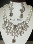 Pearl statement wedding necklace set - ONE LEFT