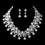 Perlaluna - STUNNING statement pearl and crystal wedding necklace set - SPECIAL one left