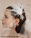 Peyton - Royal collection - Swarovski crystal hairpiece with feathers - SALE