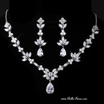 Phoebe - Elegant CZ pear drop bridal necklace set - SPECIAL!!