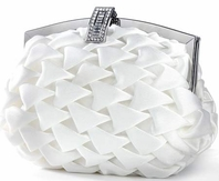 Pleated white elegant wedding purse - SPECIAL Back in stock