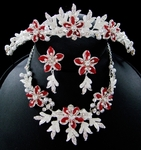 Popular Red Floral Tiara with Matching Necklace Set
