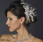 Porsha - New!! Stunning elegant wedding hair feather crystal headpiece -  SALE