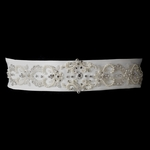 PRE-ORDER: Pearl & Rhinestone Beaded Belt In Ivory