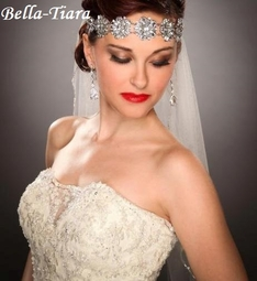 PRE-ORDER - Royal Collection - Alfonsa - Gorgeous Silver Wedding Head Wrap