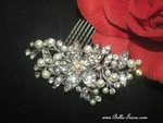 Pretty off white pearl and rhinestone wedding hair comb - CLEARANCE ONE LEFT
