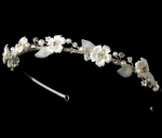 Pretty pearl floral flower girl rhinestone headband